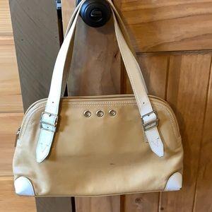 Via Spiga tan leather bag with white details